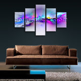 Large Fancy Paint Abstract Modern Canvas Print Wall Art Dining Pentaptych Panels