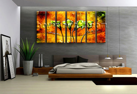 Extra Large Abstract Acrylic Flower Paintings Floral Modern Canvas Print Artwork