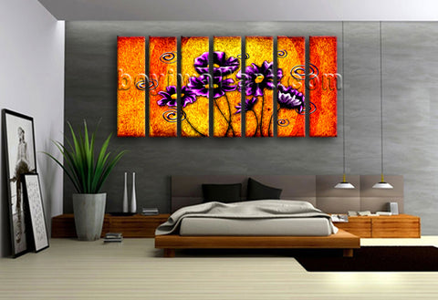 Extra Large Abstract Acrylic Flower Paintings Floral Modern On Canvas Wall Art