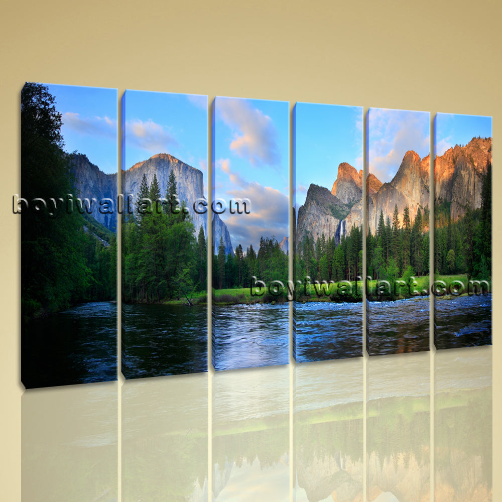 Large Yosemite Valley Landscape Wall Art HD Giclee Print Living Room Six Panels