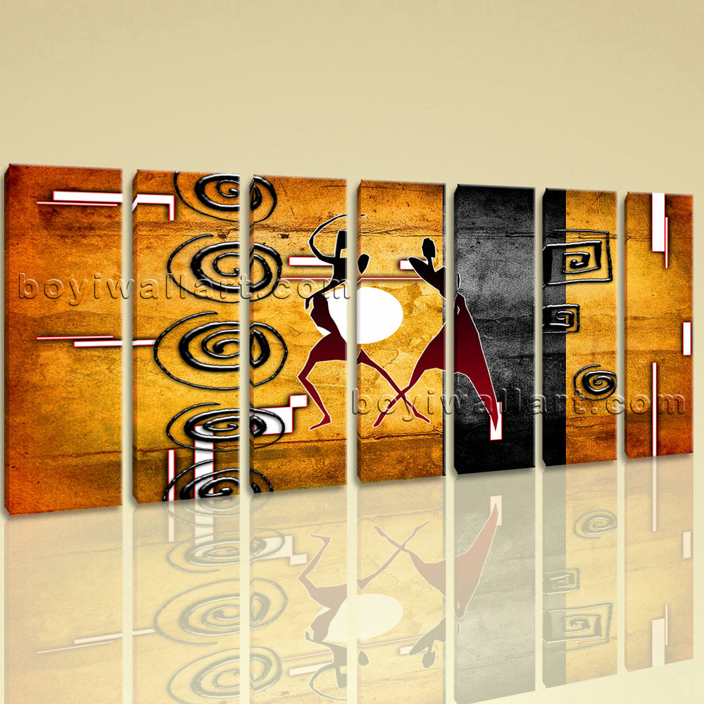 Extra Large African Retro Figure Wall Art HD Giclee Print On Canvas ...