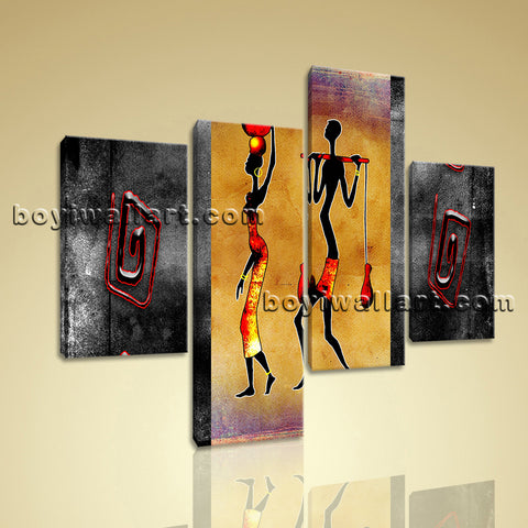 Large Vintage African Ethnic Abstract Retro Art Tetraptych Panels Print