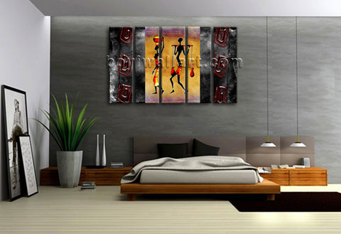 Large Vintage African Ethnic Figure Retro Canvas Print Wall Decor 5 Pieces Art