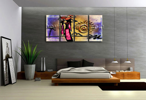Large Vintage African Ethnic Figure Retro Wall Art Printed On Canvas BedRoom