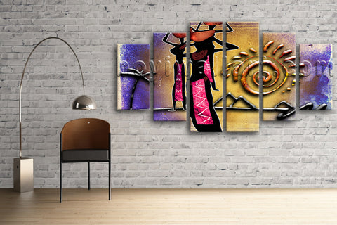 Large Vintage African Ethnic Abstract Retro Home Hexaptych Pieces Art Print