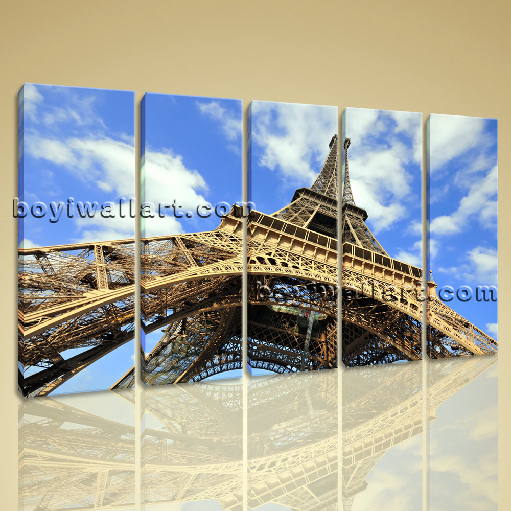 Large Eiffel Tower Cityscape Contemporary On Canvas Wall Art Dining Five Pieces