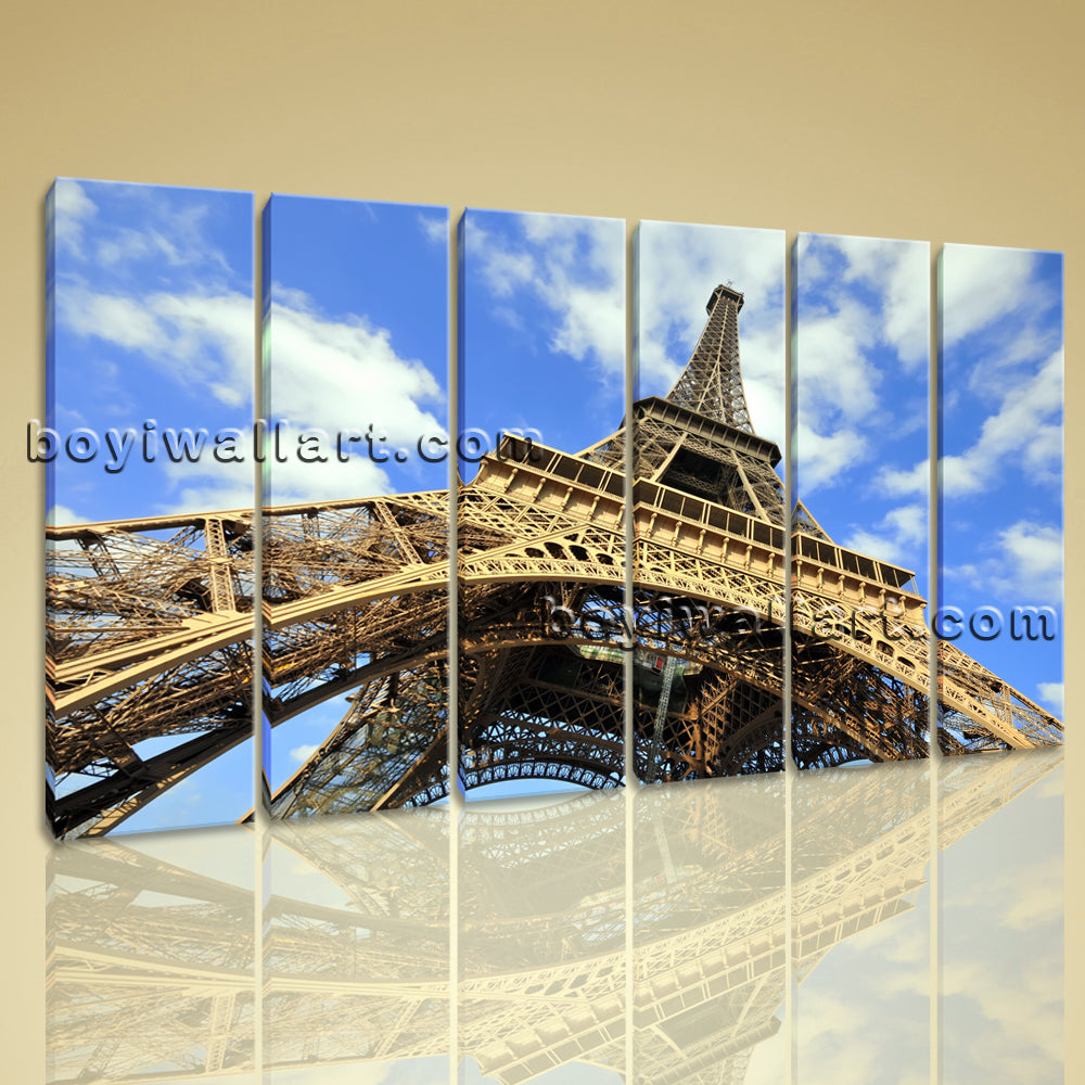 Large Eiffel Tower Cityscape Contemporary Wall Art Print On Canvas Living Room