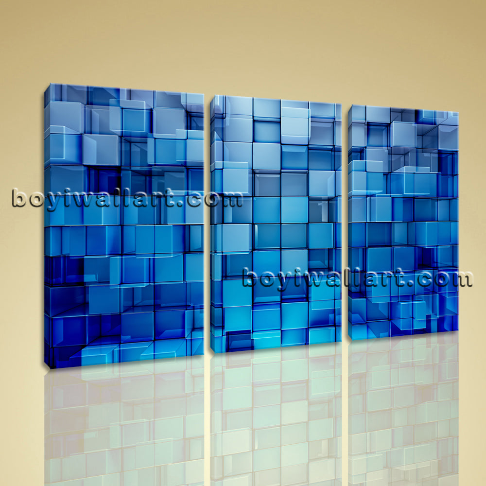 Large Blue Block Abstract Contemporary Wall Art Print On Canvas Bedroom 1 Pieces