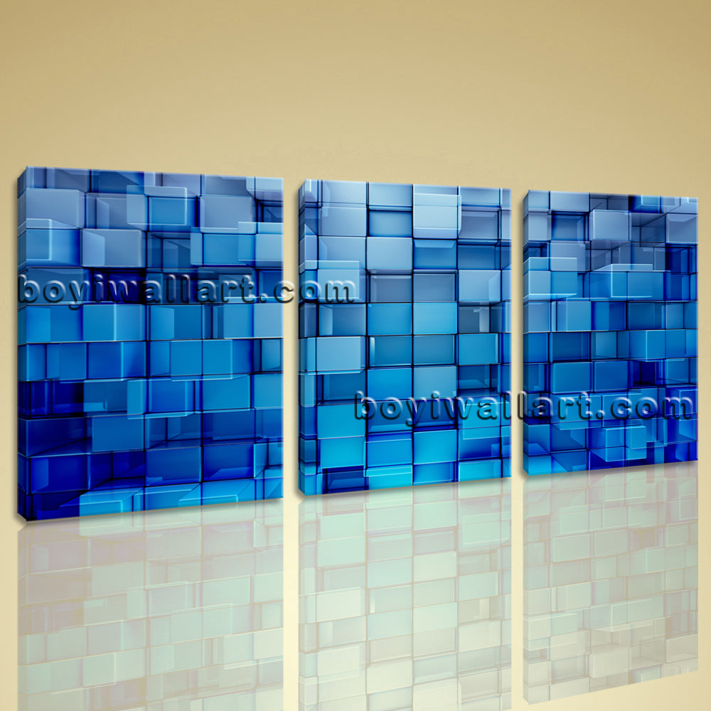 Large Blue Block Abstract Contemporary Wall Art Giclee Print 1 Pieces On Canvas