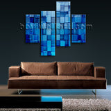 Large Blue Block Abstract Wall Art On Canvas Living Room Four Pieces Print