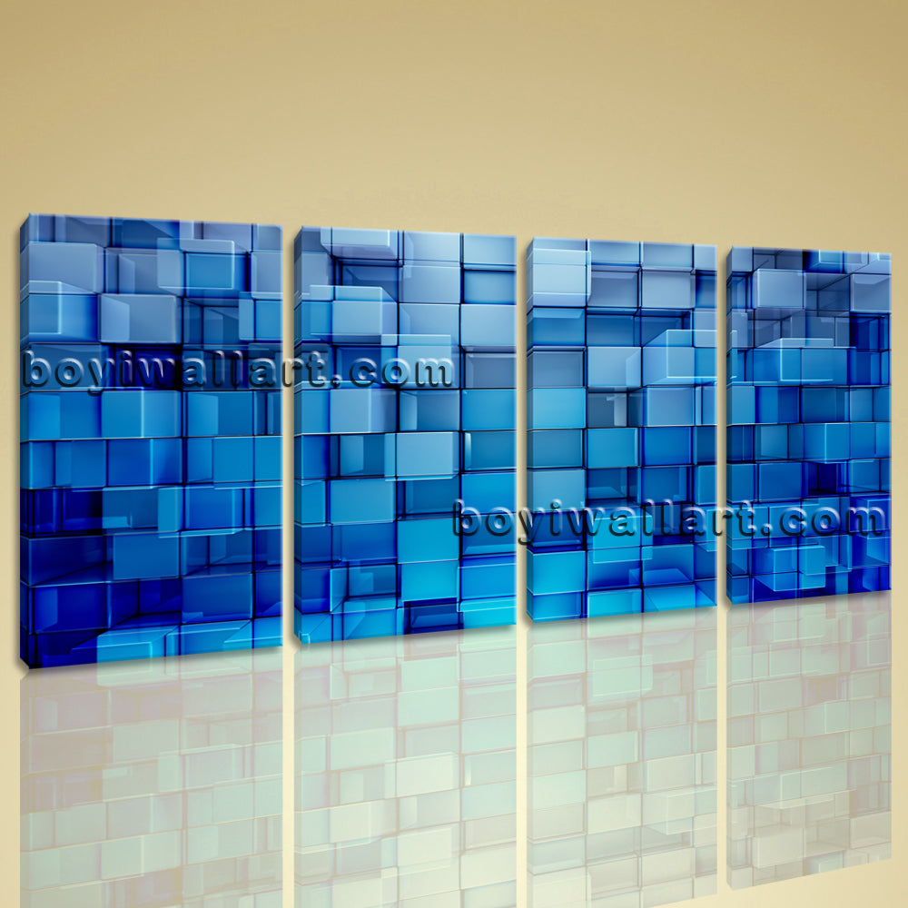 Large Blue Block Abstract Contemporary Wall Art Print Canvas Tetraptych Panels