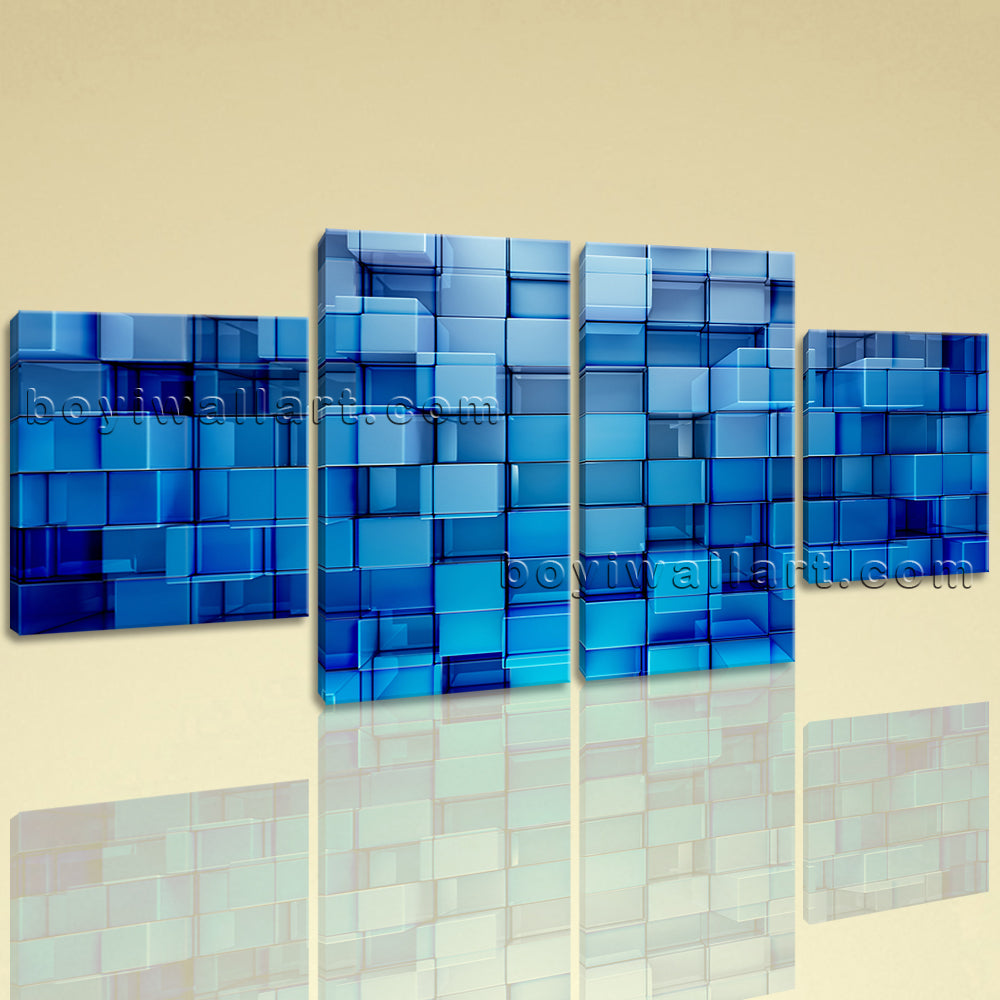 Large Blue Block Abstract Hd Print Painting Dining Room Tetraptych Pieces Giclee