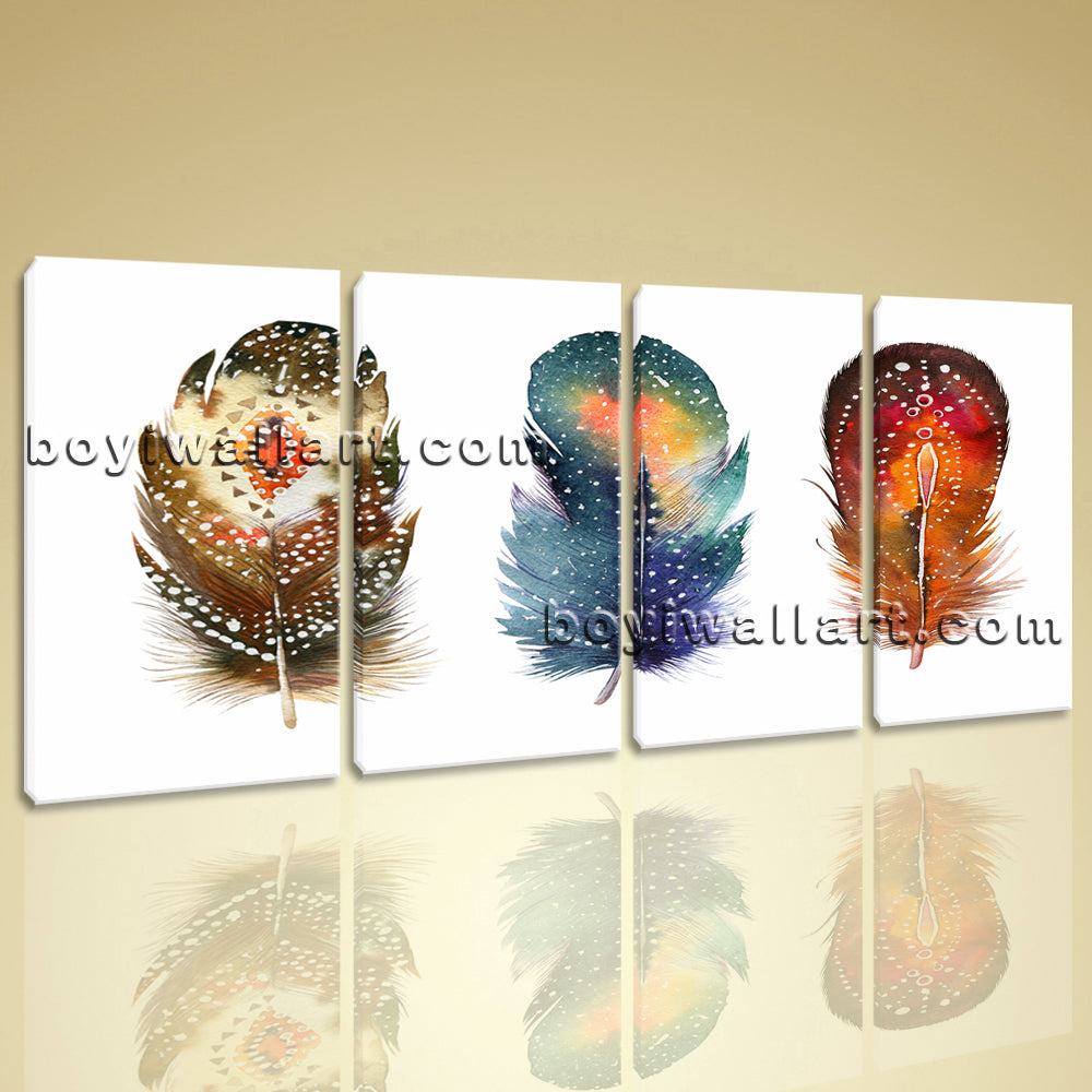 Large Curved Feathers Watercolor Other Abstract On Canvas Wall Art Four Pieces
