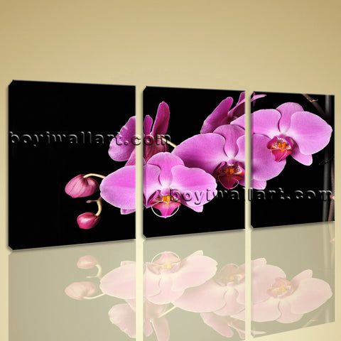 Large Orchid Flower Floral Modern Wall Art Print Living Room Triptych Pieces