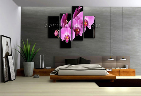 Large Orchid Flower Hd Print Modern Painting Living Room Tetraptych Pieces