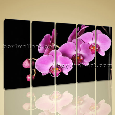 Large Orchid Flower Floral Modern On Canvas Print Wall Art Dining Room 5 Panels