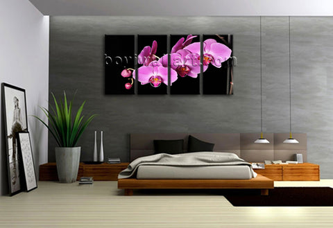 Large Orchid Flower Floral Modern Print Canvas Wall Art Tetraptych Panels Giclee