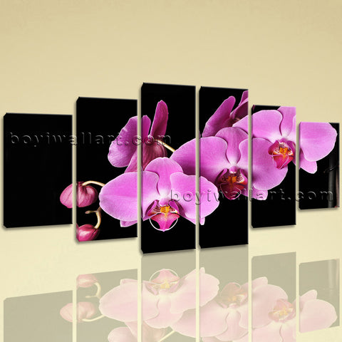 Extra Large Orchid Flower Modern Wall Dining Room Hexaptych Pieces print