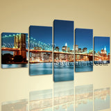 Large Brooklyn Bridge Cityscape Contemporary Wall Art On Canvas Print Home Decor