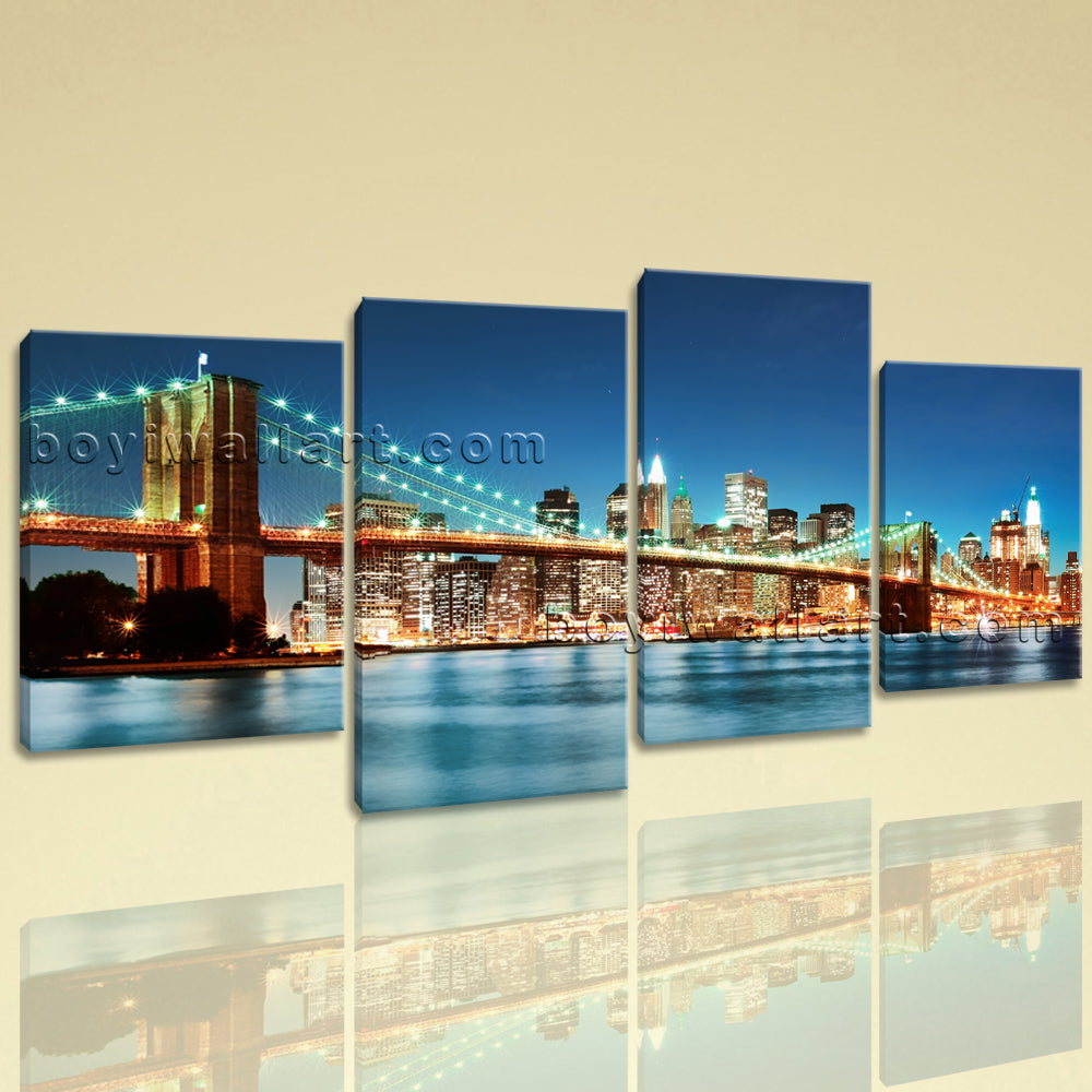 Large Brooklyn Bridge Cityscape Contemporary Printed On Canvas Living Room