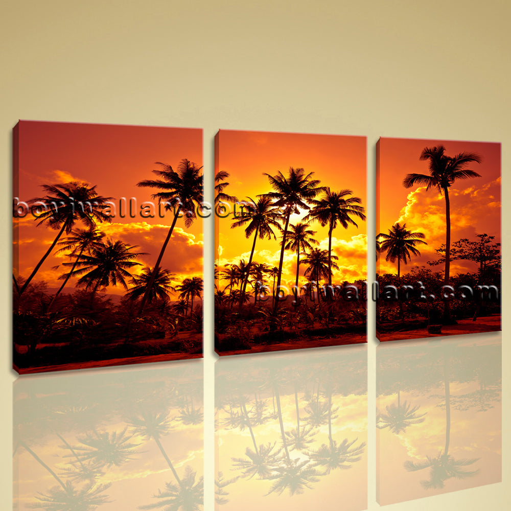 Large Coconut Palms Landscape Photography Print On Canvas Wall Art Living Room