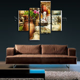 Large Artwork In Retro Style Village Wall Art Living Room 4 Pieces Print