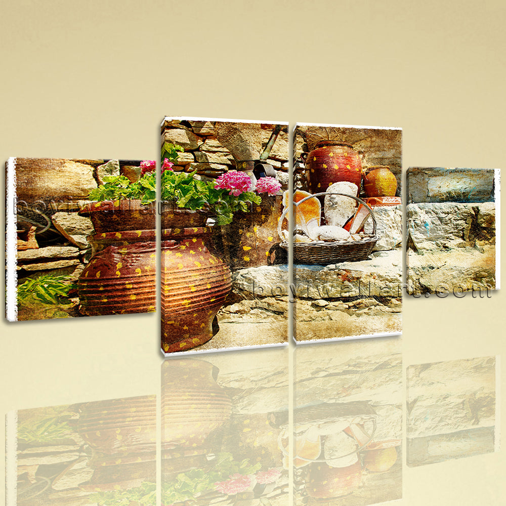 Large Artwork In Retro Style Village Canvas Art Wall Four Pieces print