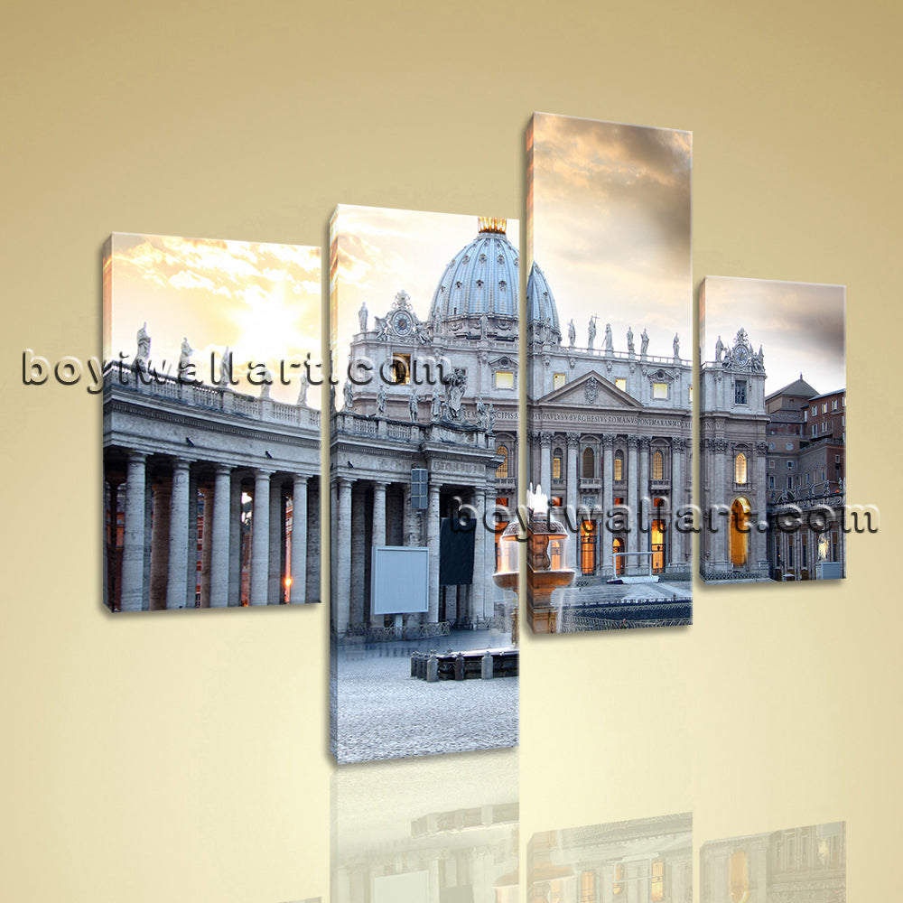 Large Basilica Di San Pietro Rome Wall Art Decor Living Room 4 Pieces print