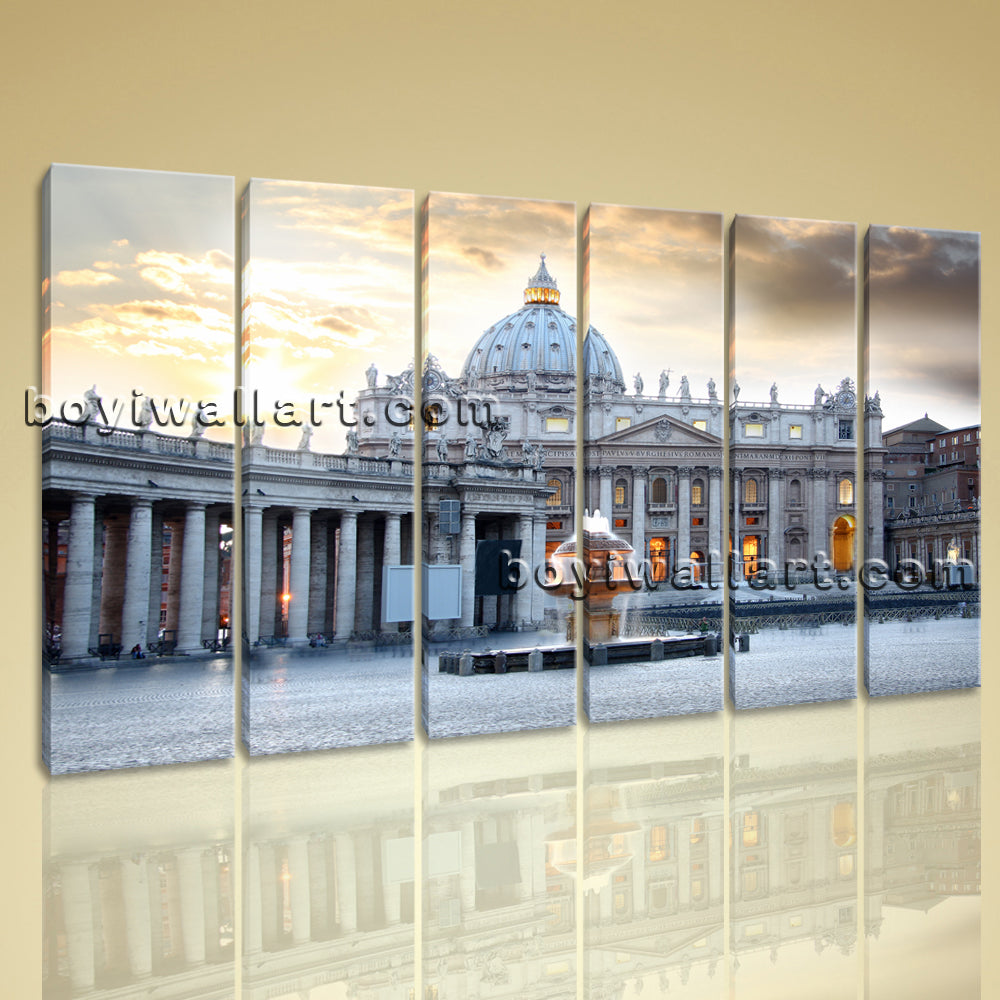 Large Basilica Di San Pietro Cityscape Photography Wall Art Printed On Canvas