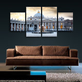 Large Basilica Rome Italy Canvas Art Painting Dining Room 4 Pieces Giclee Print