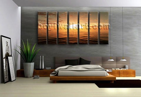 Extra Large Sunset Over Ocean Seascape Contemporary On Canvas Print Wall Art
