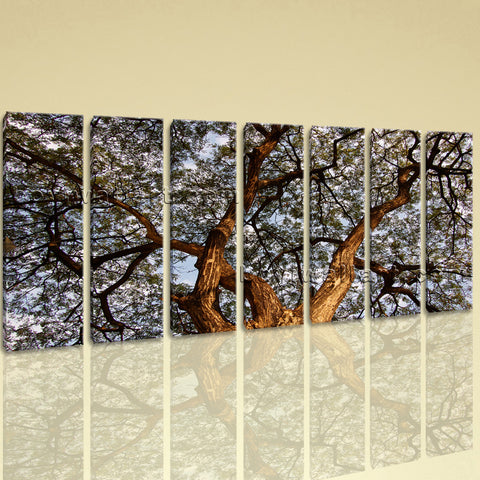 Extra Large Spreading Tree Floral Contemporary Wall Art HD Giclee Print 7 Panels