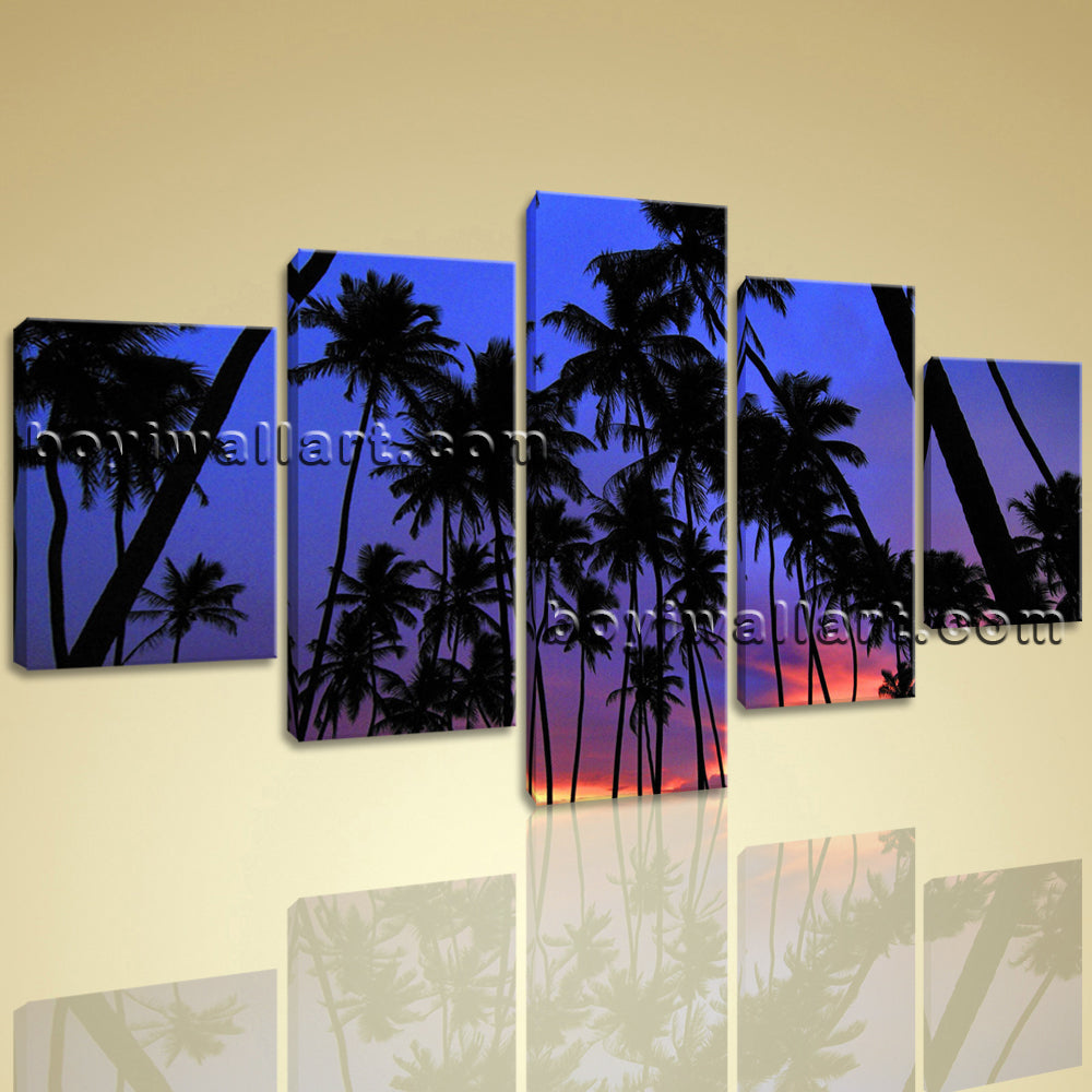 Large Coconut Palm Tree Landscape Contemporary Printed On Canvas Dining Room