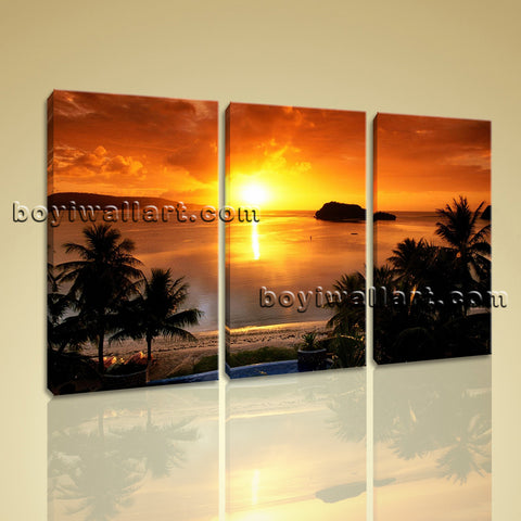 Large Tropical Sunset Landscape Contemporary Wall Art Print Triptych Panels