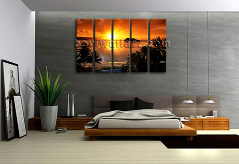 Large Tropical Sunset Landscape Contemporary Wall Art Print Canvas Dining Room