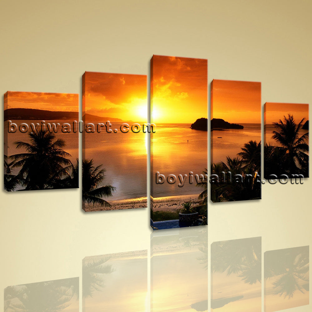 Large Guam Sunset Landscape Contemporary Wall Art Print Dining Room Five Panels