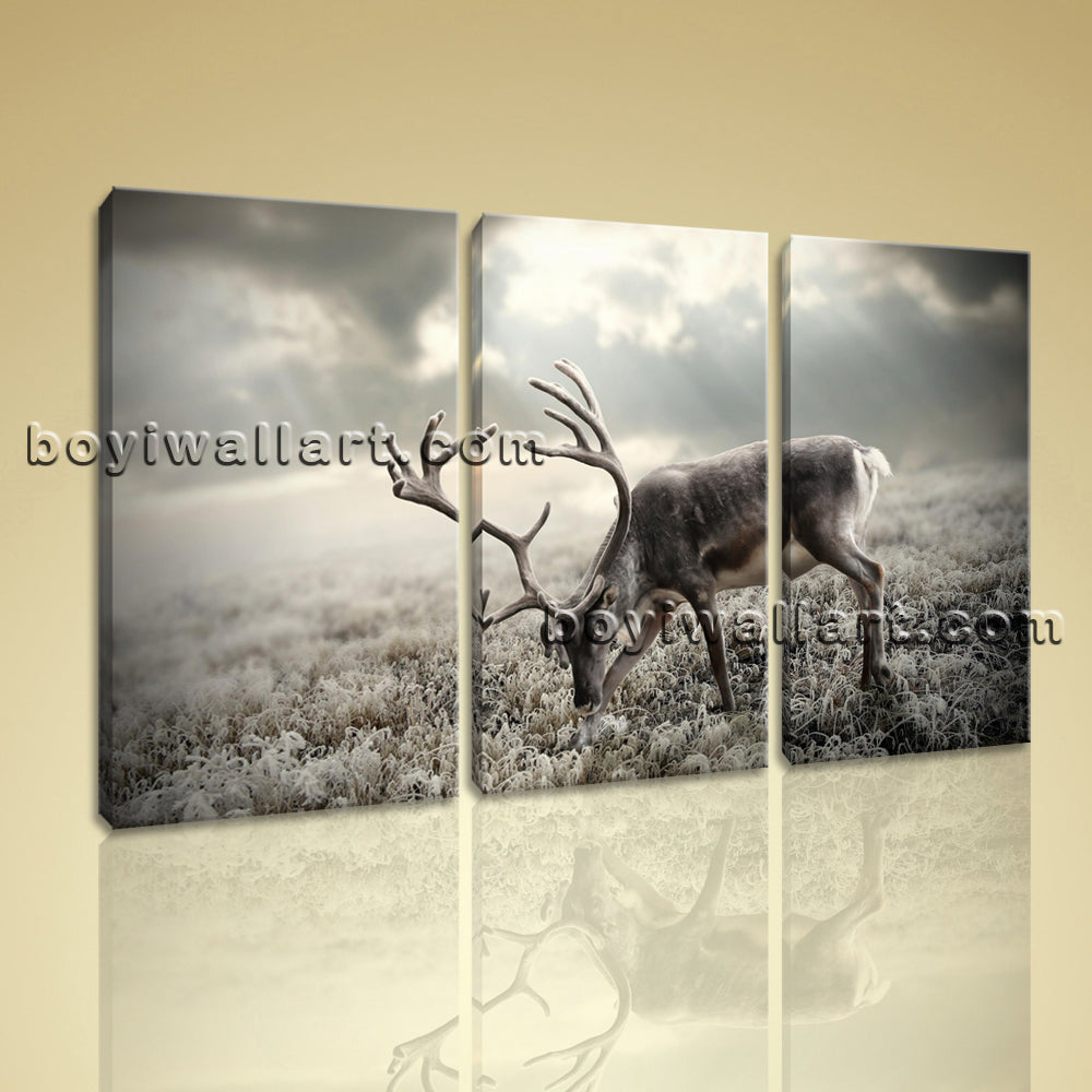 Large Deer Field Animal Contemporary Print On Canvas Wall Art Triptych Panels