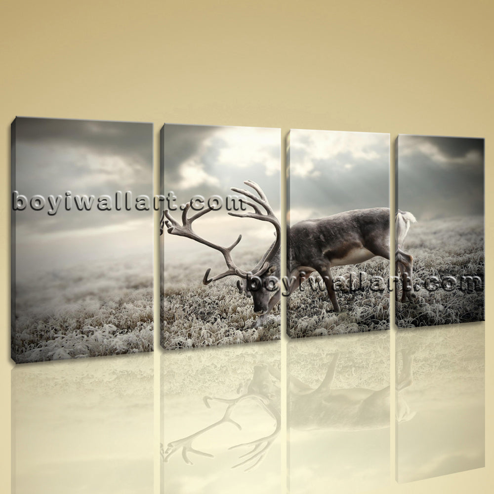 Large Black Deer Antlers Animal Contemporary Wall Art Canvas Print Decor BedRoom