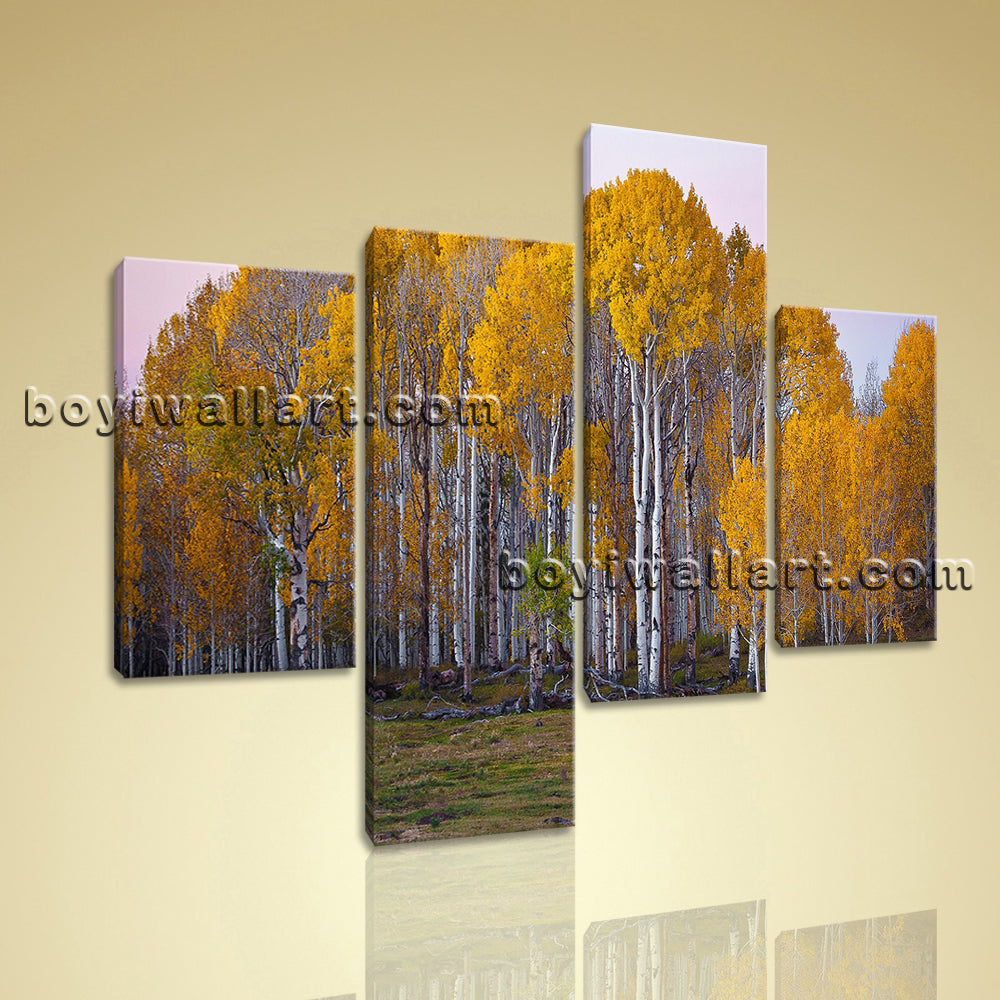 Large Deciduous Forest Fall Tree Hd Print Home Decor Living Room 4 Pieces