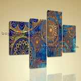Large Damask Pattern With Circles Floral Abstract Wall Modern 4 Pieces Art Print