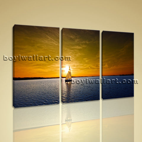 Large Sailing Boats Ocean Sunset Seascape Impressionism On Canvas Wall Art Print