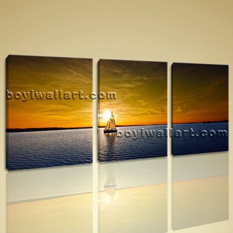 Large Sailing Boats Ocean Sunset Seascape Impressionism Wall Art Print On Canvas