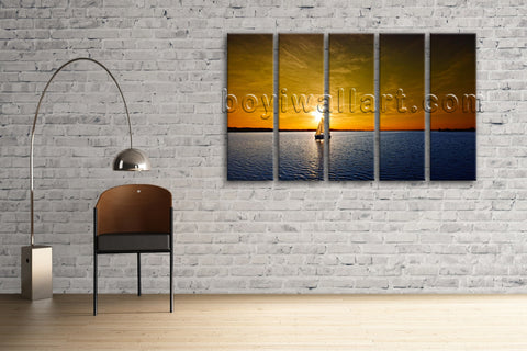 Large Sailing Boats Ocean Sunset Seascape Impressionism On Canvas Wall Art Decor