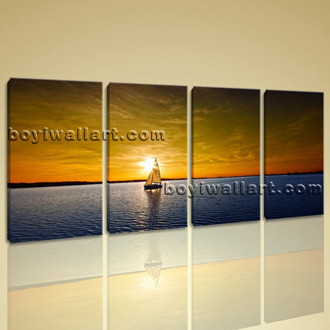 Large Sailing Boats Ocean Sunset Seascape Impressionism On Canvas Print Wall Art