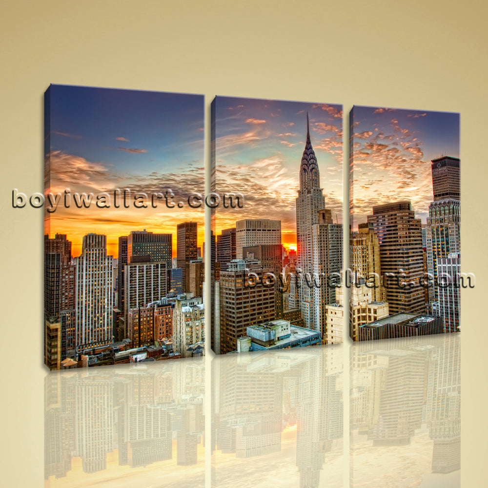 Large Chrysler Building Cityscape On Canvas Print Wall Art Bedroom 1 Panels