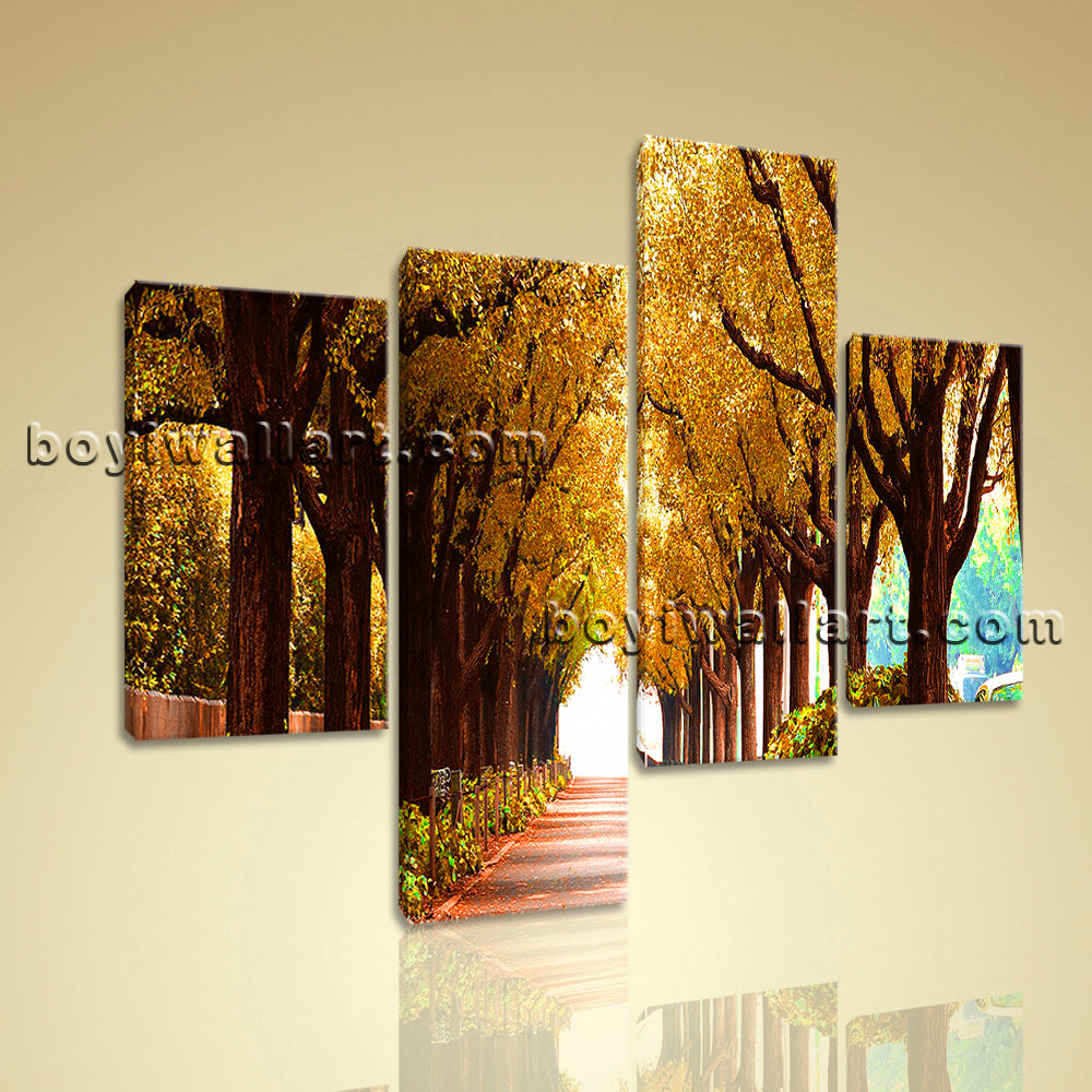 Large Autumn Fall Tree Canvas Art Wall Living Room Four Pieces Print