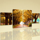 Large Autumn Fall Tree Wall Decor Canvas Art Dining Room Four Panels print