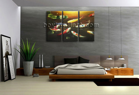 Large Koi Fish Painting Feng Shui Contemporary On Canvas Print Wall Art BedRoom