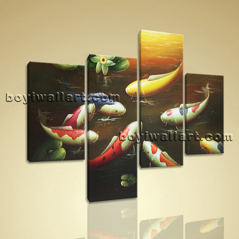 Large Feng Shui Painting Koi Fish Wall Art Living Room Tetraptych Panels Print