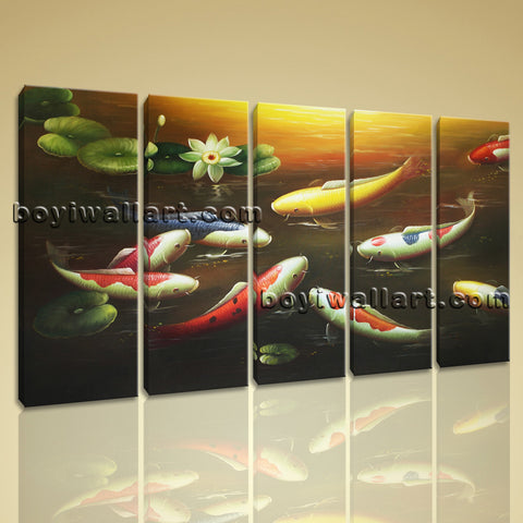 Large Koi Fish Painting Feng Shui Contemporary Canvas Wall Art Decor Dining Room